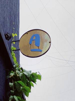 Site Practice - Signage in brass overgrown by greenery along the facade. Photo: Adrienne Thadani