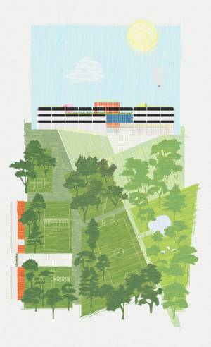 Site Practice - Site Practice's proposal for the new school building of the Glashütte Campus will form a vibrant focal point in the Ossenmoorpark and the garden city of Norderstedt, Northern Germany.