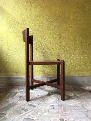 Site Practice - Originally designed for Americano Restaurant in Mumbai, the chair is both minimalistic in appearance and comfortable in use. Crafted in a combination of reclaimed teak and mahogany, it merges traditional Indian carpentry with modern living. For further details or inquiries please contact us by email.
