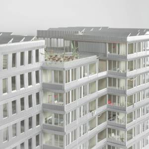 Site Practice - Model in paper showing the communal roof garden