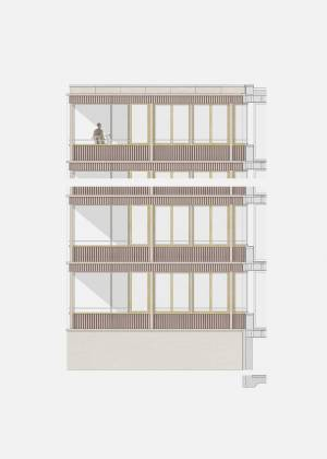 Site Practice - The facade is made of hemp fibre based corrugated panels and timber windows and posts in Accoya.